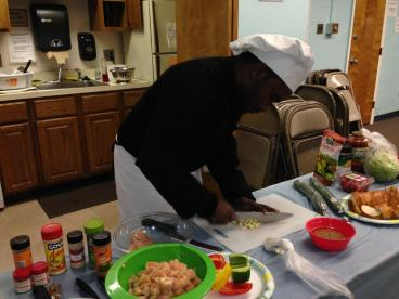 Chef Booker and former GapBuster students return to show the students how to cook a healthy meal.